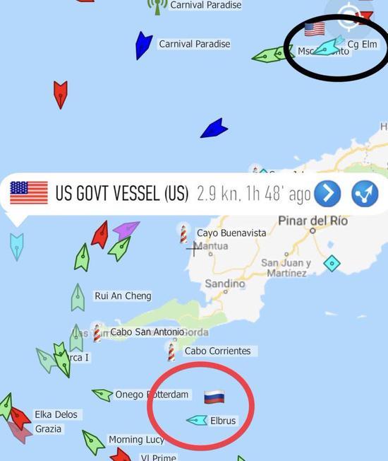 """不怕撞船?美军舰在古巴外海蹲守""""偷窥""""俄海军编队"""