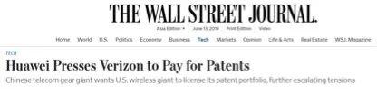 美媒称华为已要求美国公司支付高额专利费用