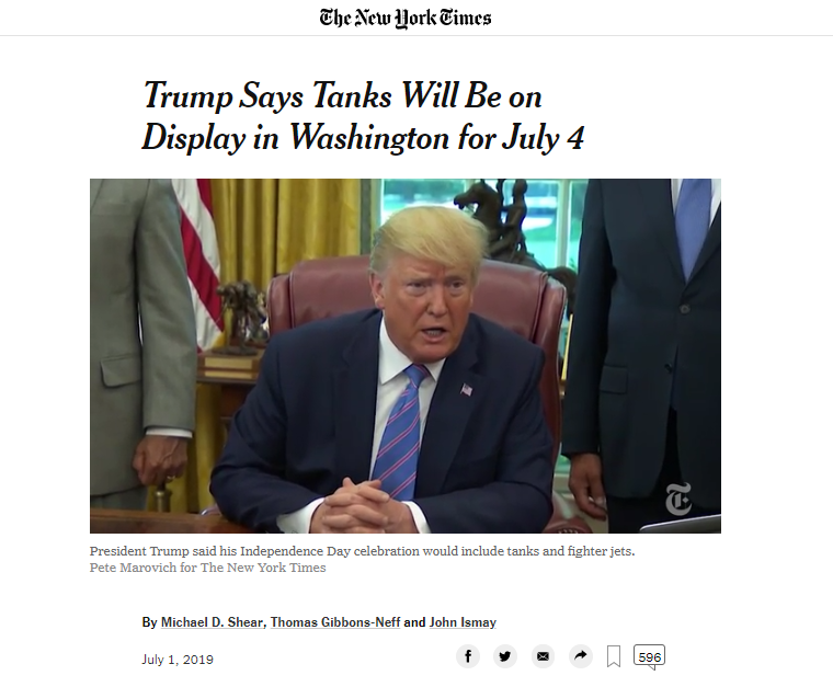 """""""阅兵梦""""终实现?特朗普:独立日将出动战机和坦克"""""""