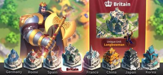 《万国觉醒》共有11个国家特色角色和建筑