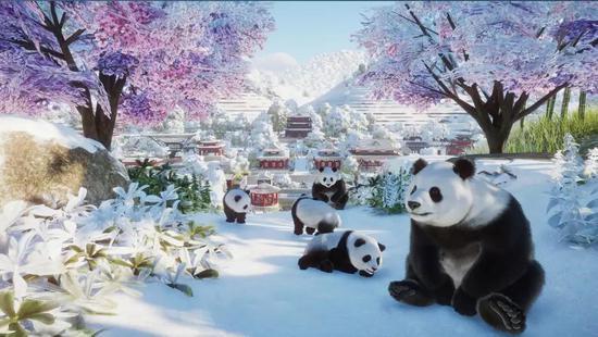 东方主题的熊猫馆