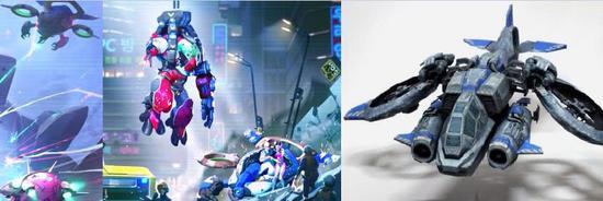 动画里一闪而过的蓝色机甲还有点像《星际争霸》里的女妖战机(最右)