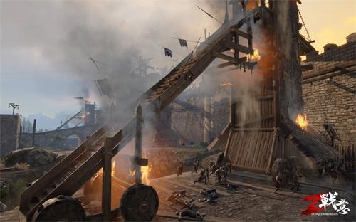 士兵们准备登上摇摇欲坠的攻城塔,试图击破敌军最后的防线