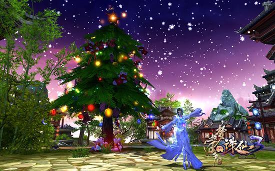 图05-节日期间可以到《诛仙3》圣诞树处换取许愿盒