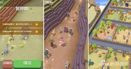 《疯狂动物园》(RodeoStampede)可谓一部极具产品力的F2P休闲游戏,它以跑酷为核心玩法,同时融合了《天天过马路》(CrossyRoad)这种在混乱中寻求生存,以及经典PC游戏《动物园大亨》(Zoo Tycoon)的经营模拟元素。  这部游戏的构架就充满了创意:所谓的动物园是一架空母(你至少知道神盾局的老家是什么样子吧),开设这个地方所需要的原材料也就是各种野生动物,需要去广袤的大陆上捉拿。一门人间大炮会将Minecraft风格的主角发射到陆地,接下来要做的事情,就是用绳套驯服这些未开