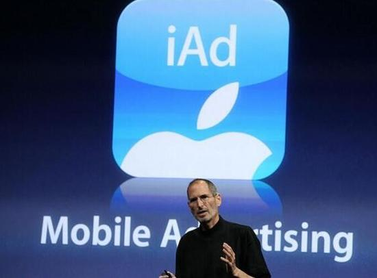 2010年,乔布斯宣布苹果进军移动广告领域