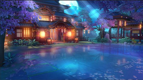 《永远的7日之都》新场景——东方古街·夜晚的雯庭棋馆
