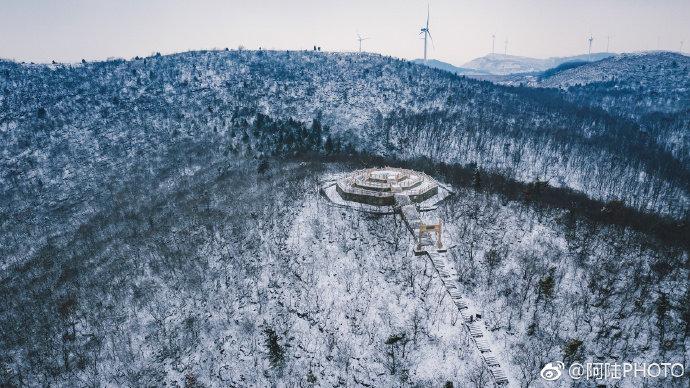 淮南八公山雪景航拍图