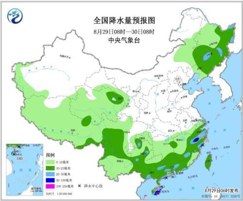 全国降水量预报图(8月29日8时-30日8时)