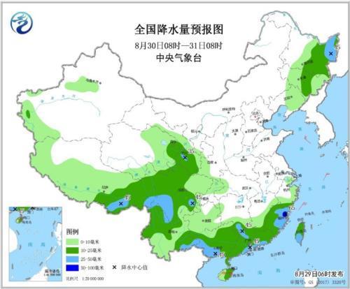 全国降水量预报图(8月30日8时-31日8时)