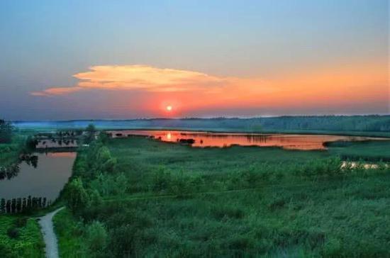 黄河故道湿地晚霞如画