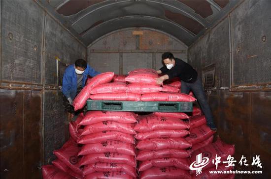 图为装卸工正在整理铜陵西站运往哈尔滨的春耕化肥 摄影 叶晓刚