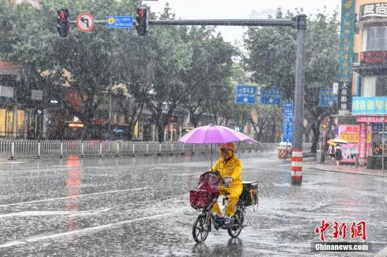 资料图:民众在暴雨中出行。 中新社记者 陈骥旻 摄