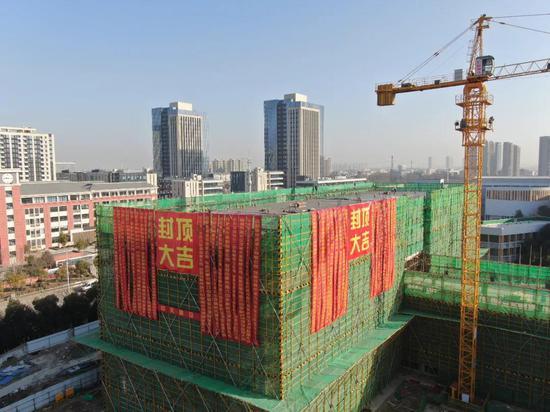 安徽面积最大中学合肥六中新校区首栋单体封顶成功