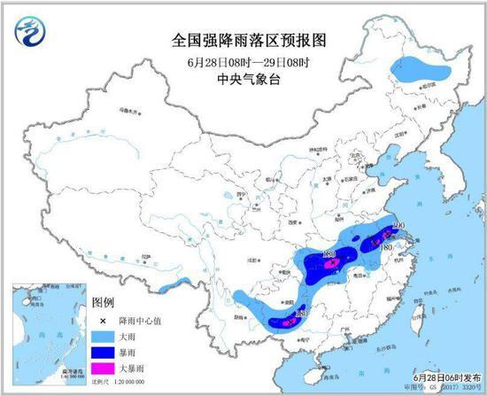 图1 全国强降雨落区预报图(6月28日08时-29日08时)