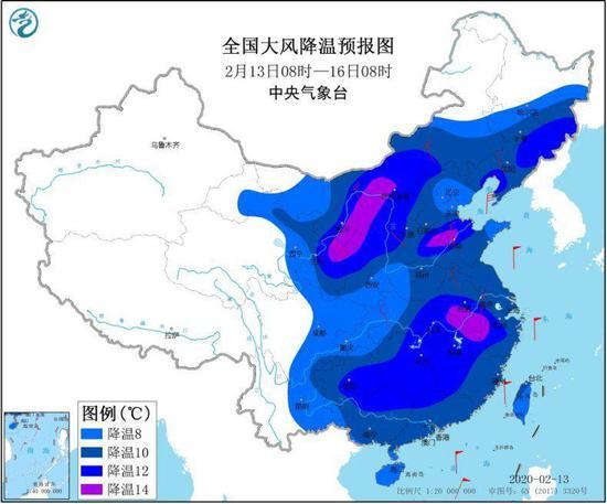 图2 全国大风降温预报图(2月13日08时-16日08时)