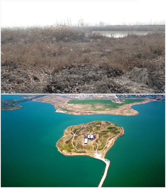 拼图照片:上图为煤炭资源型城市安徽淮北的采煤塌陷区,下图为由采煤塌陷区改造而来的绿金中央公园(均为通联照片)。