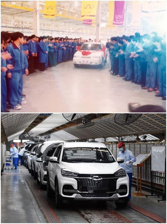 拼图照片:上图为1999年12月18日,奇瑞的第一辆整车下线(通联照片);下图为2020年5月20日,工人在奇瑞总装三车间内工作(新华社记者周牧摄)。