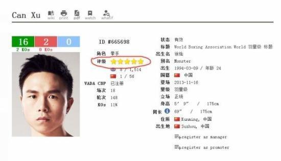 徐灿目前已获评五星顶级拳手。 图片来源:BoxRec网站截图