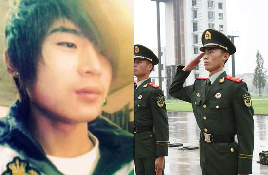 朱成斌,2013年9月入伍,战士