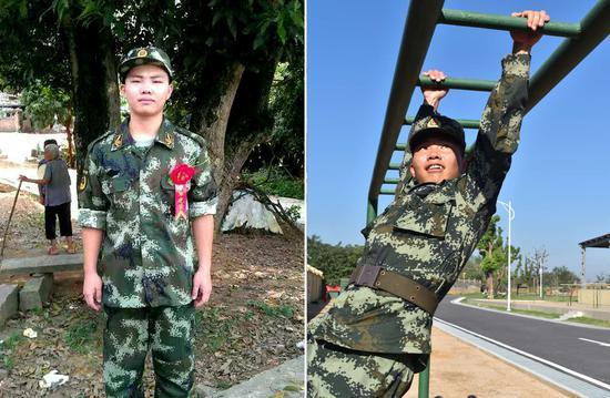 黄启刚,2013年9月入伍,班长