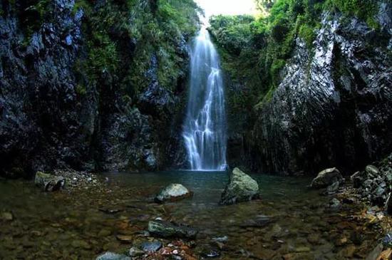 雨林景观瀑布手绘