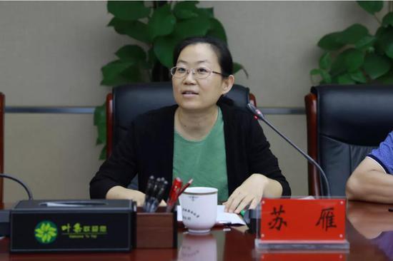 安徽省商务厅开发区处副处长苏雁主持会议