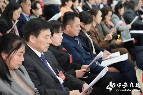 与会代表正在认真听取政府工作报告。 记者 许梦宇、刘玉才、刘炜鑫摄