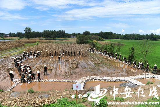 2020年7月31日,安徽铜陵,武警合肥支队官兵在安徽铜陵市义安区老洲乡中心村东大堤处置管涌险情。