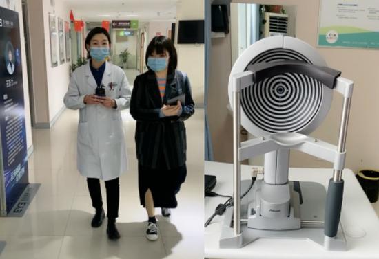 [ 闫刘刘医生(左1)向网友介绍术前检查及角膜地形图(右1)]