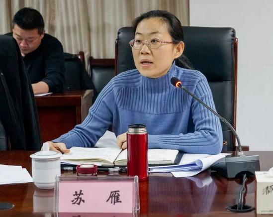 安徽省商务厅开发区处副处长苏雁主持讲话