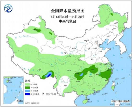 图1 全国降水量预报图(5月13日20时-14日20时)