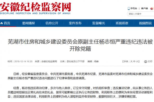芜湖市住建委原副主任杨志恒严重违纪违法