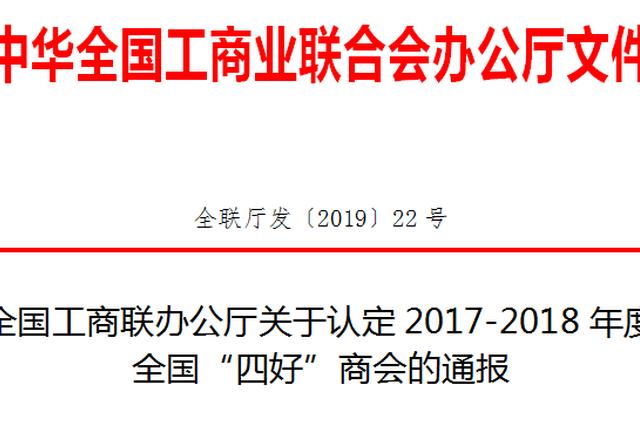 """安徽19家商协会入选全国""""四好""""商会"""