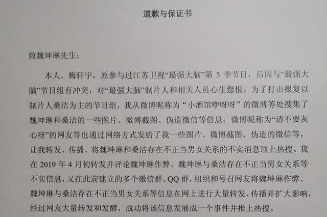 梅轩宇发道歉声明 承认捏造魏坤琳桑洁不正当关系
