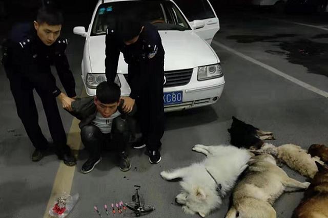 蒙城:手持驽枪的偷狗贼被警方抓个现行