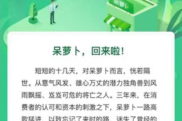 呆萝卜宣布12月9日重新营业