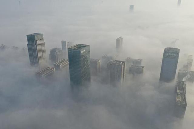 雾中合肥 浮上云端