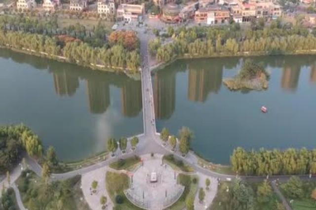 高空航拍蚌埠市美丽的张公湖公园