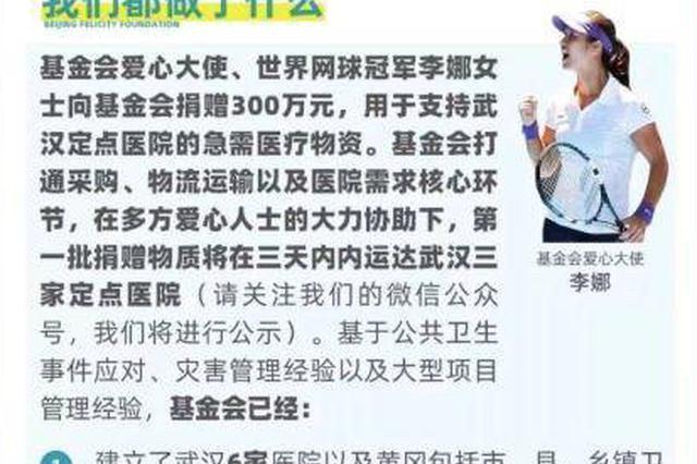 李娜向家乡武汉捐款300万