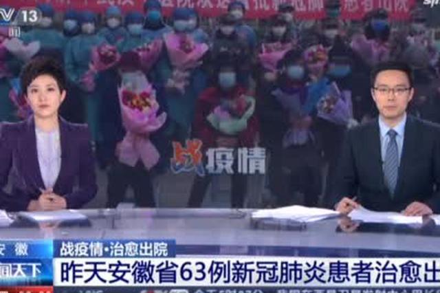 19日安徽省63例新冠肺炎患者治愈出院