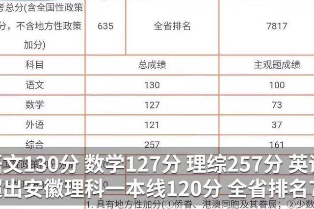 安徽盲人考生高考635分 超一本线120分