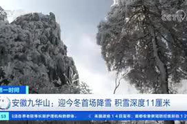 安徽九华山:迎今冬首场降雪 积雪深度11厘米