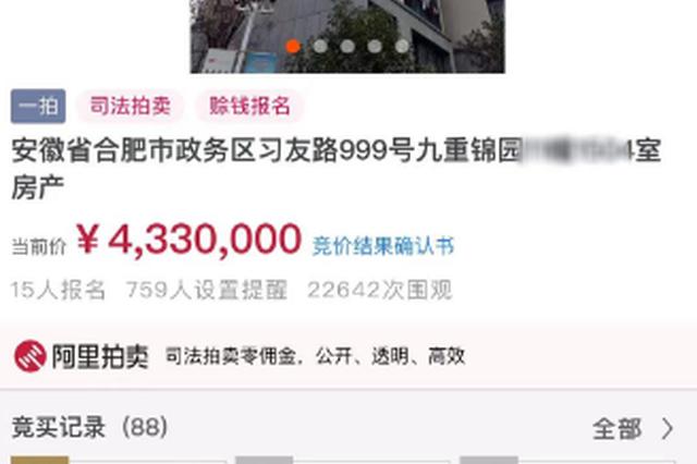 """98.77平方拍出433万 合肥政务区""""法拍房""""溢价超百万"""