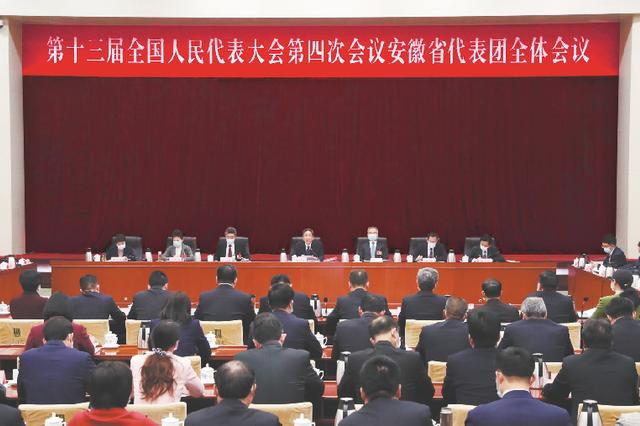 十三届全国人大四次会议安徽代表团举行全体会议