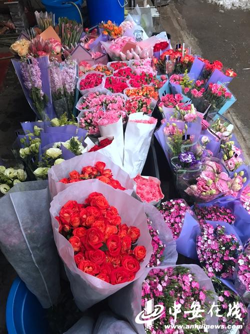 海卉花市里商家已经开始备货情人节部分鲜花