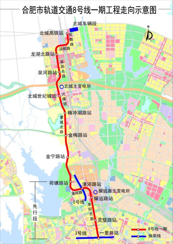 轨道交通8号线一期工程走向示意图
