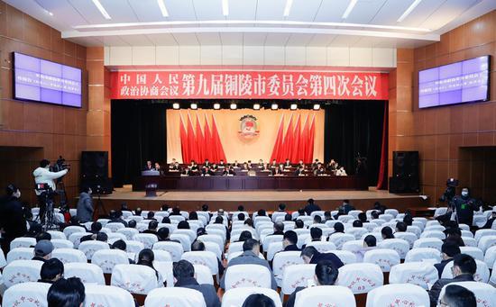 政协第九届铜陵市委员会第四次会议会场。 记者 詹俊 摄