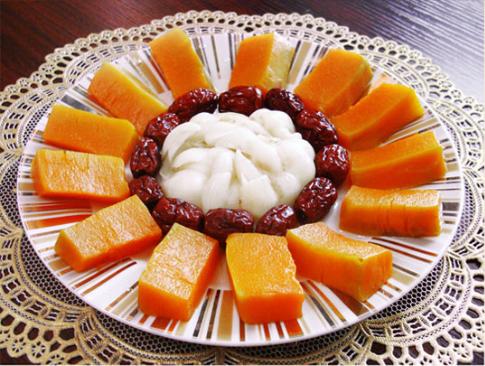 素食养生:百合红枣蒸南瓜