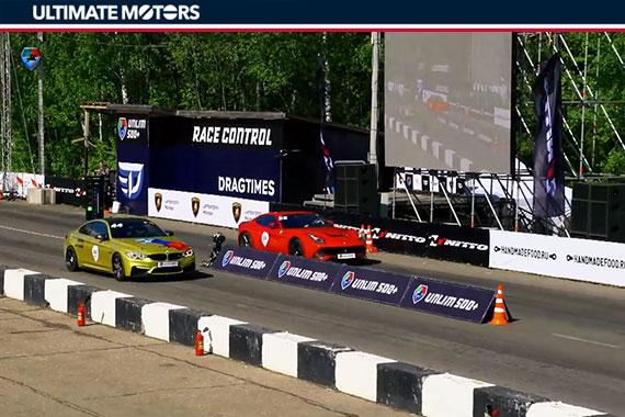 700马力BMW M4与Ferrari F12的直线对决